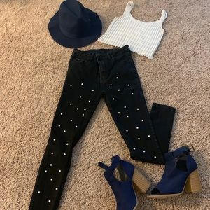 Black high waisted pearl studded jeans